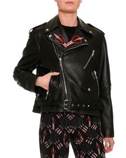 Love Blade Embroidered Leather Moto Jacket, Back
