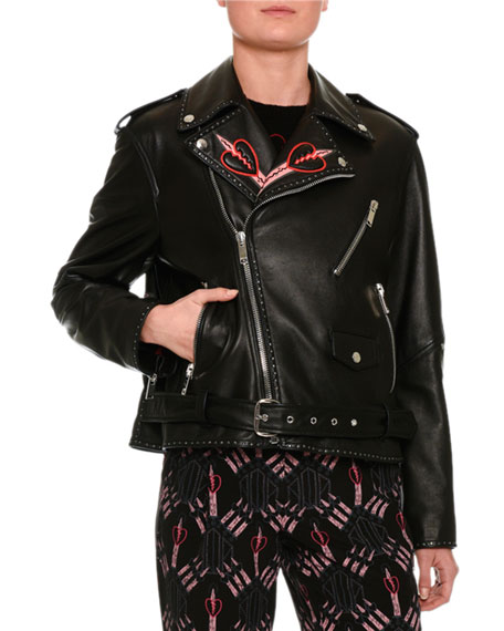 Love Blade Embroidered Leather Moto Jacket, Back