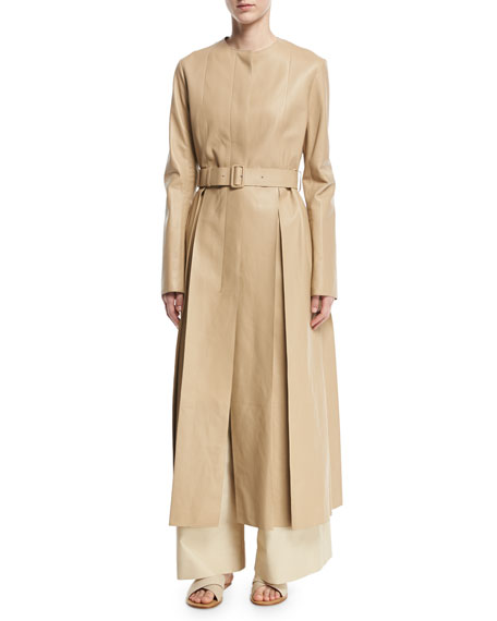 Tess Collarless Leather Coat, Khaki