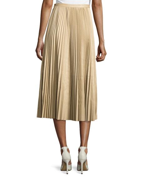 Solly Pleated Leather Midi Skirt, Khaki