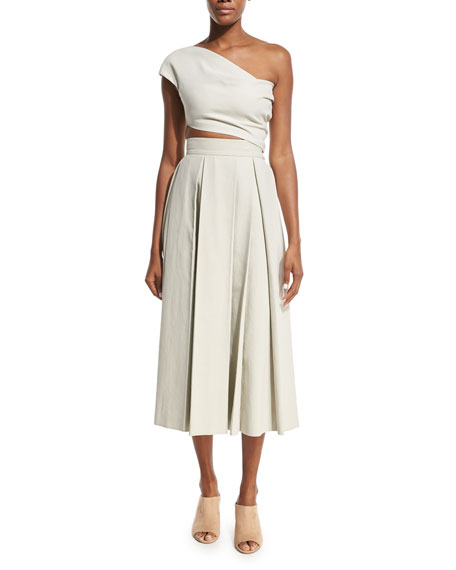 Kanu Pleated Midi Skirt, Oyster