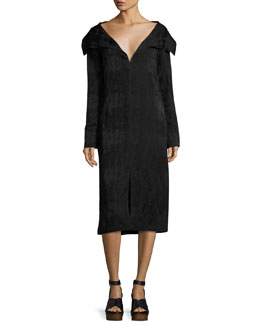 Portrait-Collar Jacquard Dress, Black