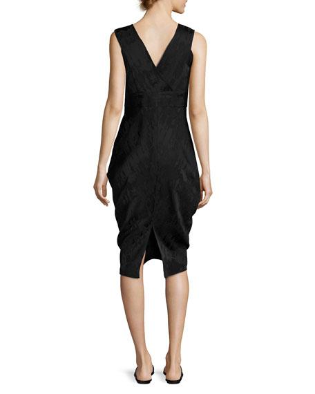 Sleeveless Draped Jacquard Dress, Black