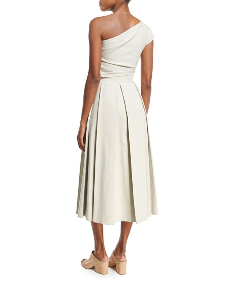 Arno Cropped One-Shoulder Top, Oyster