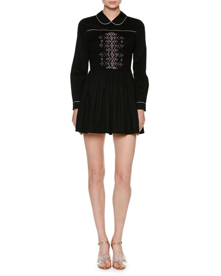 Embroidered Long-Sleeve Shirtdress, Black