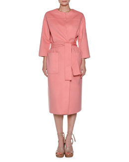 Bracelet-Sleeve Cashmere Top Coat, Pink