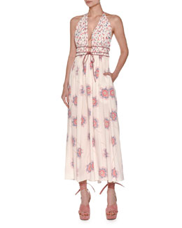 Floral-Print Tie-Waist Halter Dress, Ivory