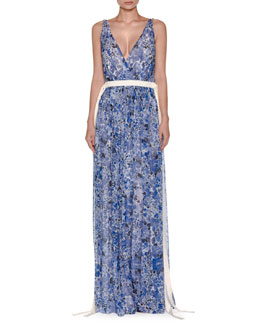 Floral-Print Chiffon Gown w/Drawstring Waist, Blue