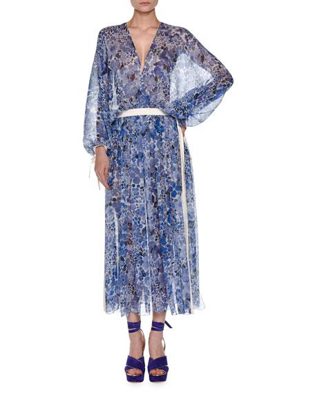 Floral-Print Chiffon Drawstring Dress, Blue