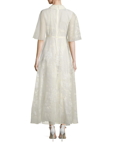 Half-Sleeve Silk Lace Dress, Ivory