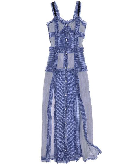 Patchwork Camisole Maxi Dress, Blue
