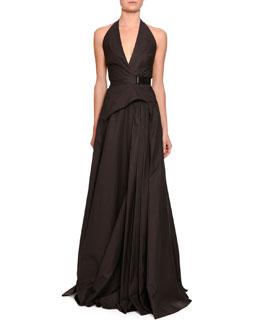 Sateen Halter Gown w/Belt, Brown/black