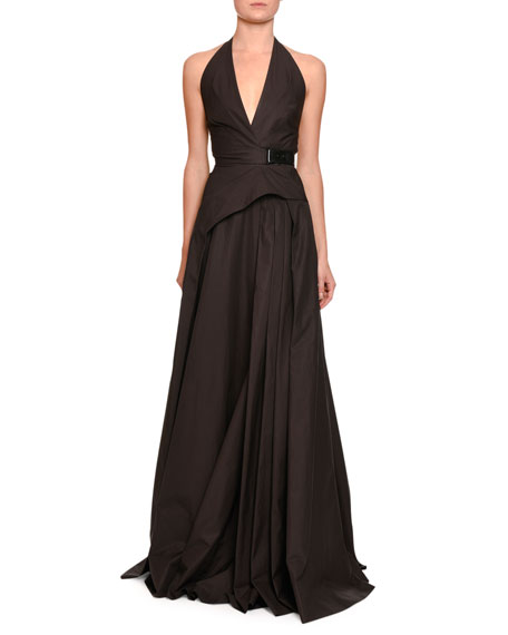 Bottega Veneta Sateen Halter Gown w/Belt, Brown/black