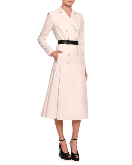 a8b7034d182 Bottega Veneta Double-Breasted Coat Dress w Leather Belt