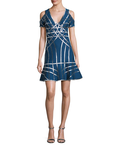 Veronikka Cold-Shoulder Metallic Grid Dress, Blue