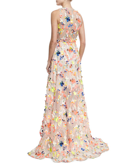 Flocked High-Low Silk Gown, Beige