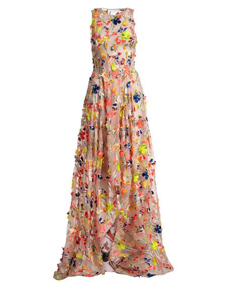 Flocked High-Low Silk Gown, Beige