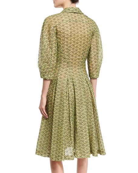 Puffed 3/4-Sleeve Eyelet Shirtdress, Green