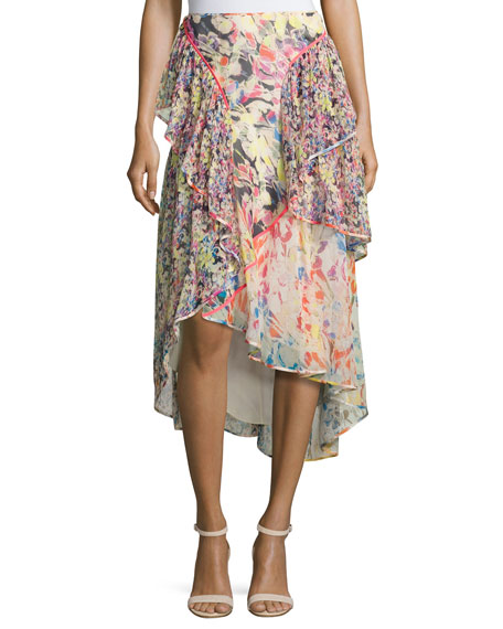 Floral-Print Chiffon High-Low Skirt, Multi