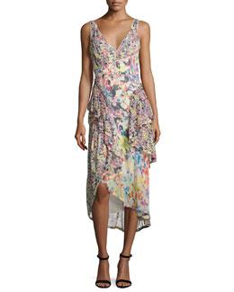 Mixed Floral-Print Chiffon Midi Dress, Multi