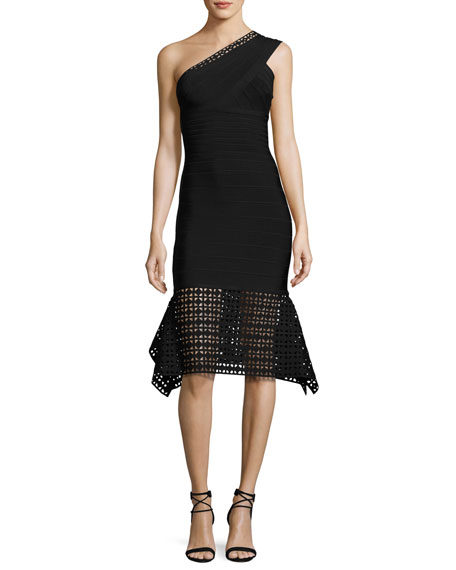 Portia One-Shoulder Bandage Dress, Black