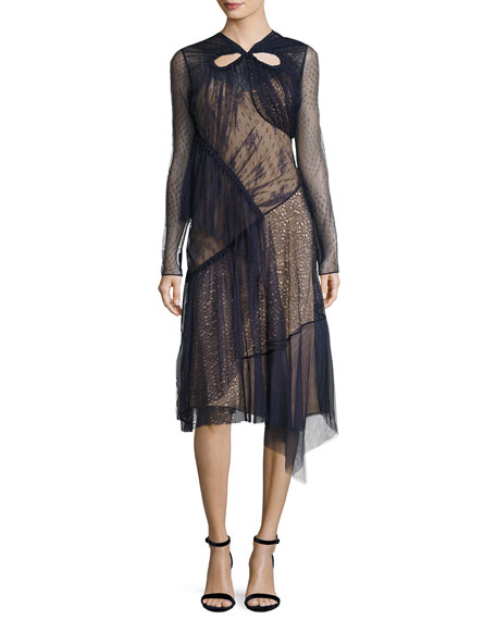 Long-Sleeve Mixed-Lace Dress, Blue