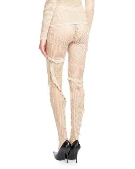 Crocheted Lace Tights, Ecru