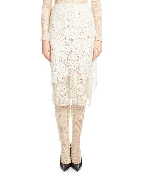 Layered Guipure Lace Skirt, Ecru
