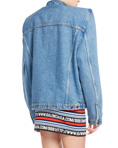 Boxy Denim Jacket with Shoulder Pads, Blue