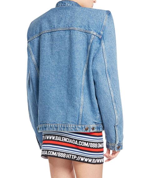 Boxy Denim Jacket with Shoulder Pads, Blue