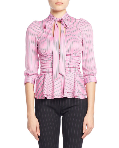 Striped Tie-Neck Ruched Jersey Blouse, Pink/White