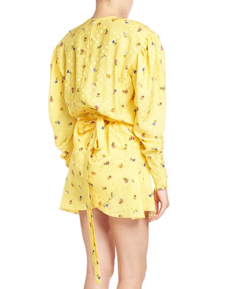 Ruched Floral-Print Midi Dress, Yellow Pattern