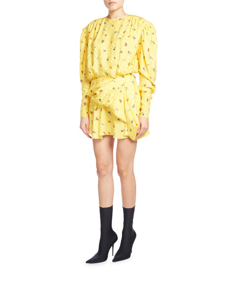 Balenciaga Ruched Floral-Print Midi Dress, Yellow Pattern