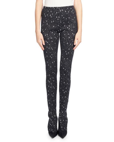Balenciaga Star-Print Jersey High-Waist Skinny Track Pants,