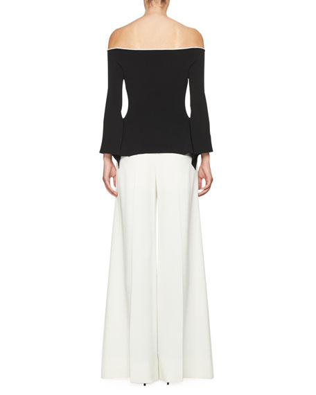 Cartwright Ribbed Off-the-Shoulder Top, Black