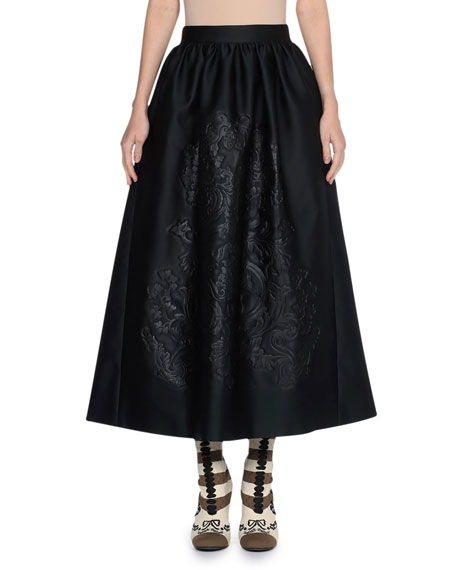 Embossed Duchess Satin Ball Skirt, Black