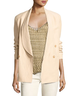 Nelson Shawl-Collar Jacket, Beige