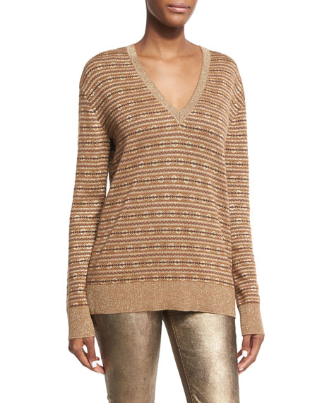 Metallic Deco Knit V-Neck Pullover, Brown