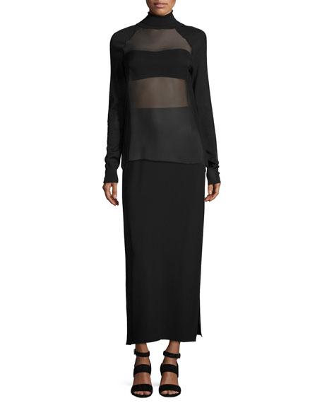 Anneliese Long Cady Skirt, Black