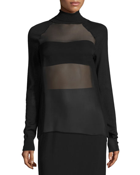 Sheer-Panel Turtleneck Top, Black