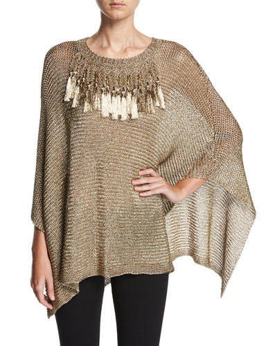 Metallic Mesh Poncho with Fringe Trim, Beige