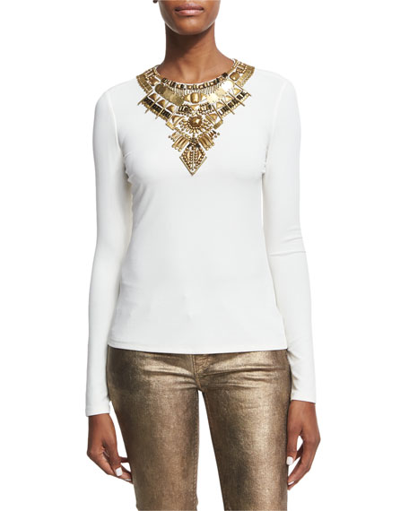 Abner Beaded Long-Sleeve Top, Ivory
