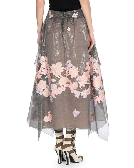 Versailles Embroidered Fil Coupe Skirt