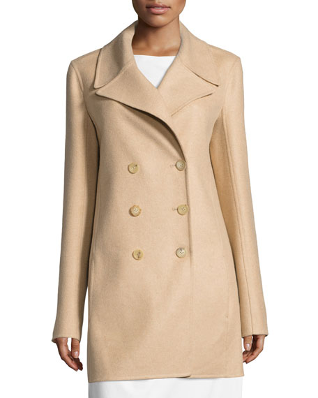 Zora Double-Breasted Coat, Beige