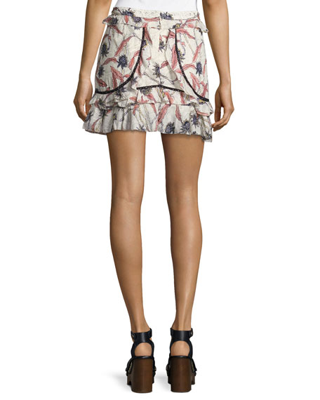 Ugi Ruffle-Trim Mini Skirt, Neutral Pattern
