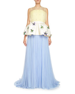 Pleated Tulle Gown w/Removable Peplum, Blue
