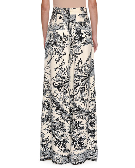 Paisley-Print Wide-Leg Pants, White
