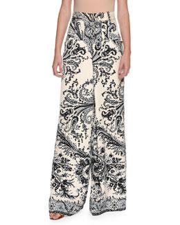 Paisley-Print Wide-Leg Pants, White