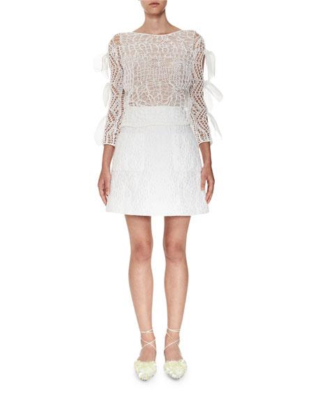 Matelasse A-Line Skirt, White