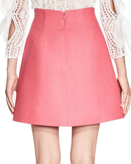 Stiff Linen A-Line Skirt, Pink